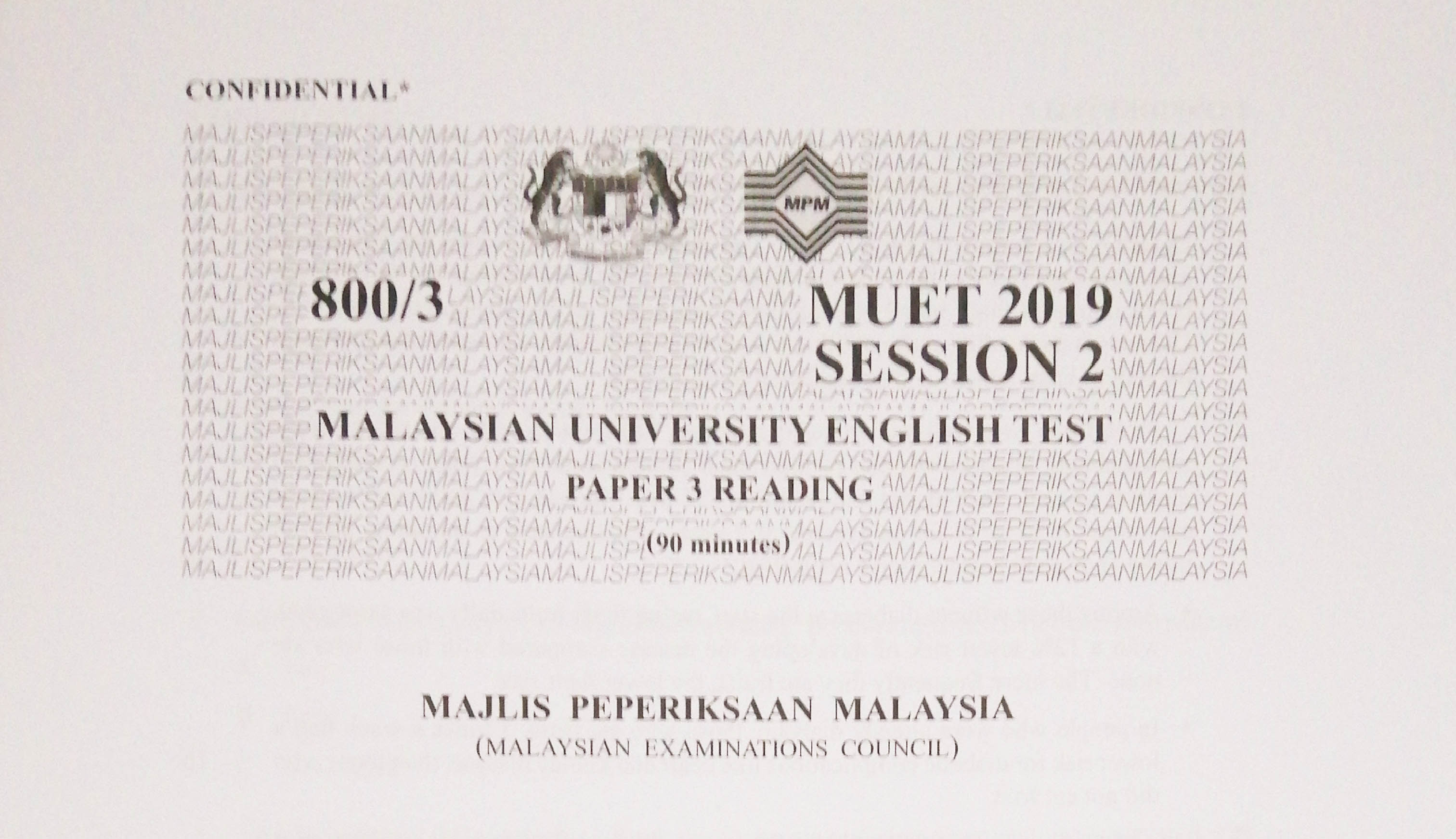 Muet Session 2 2019 Past Year Papers Samakaiden
